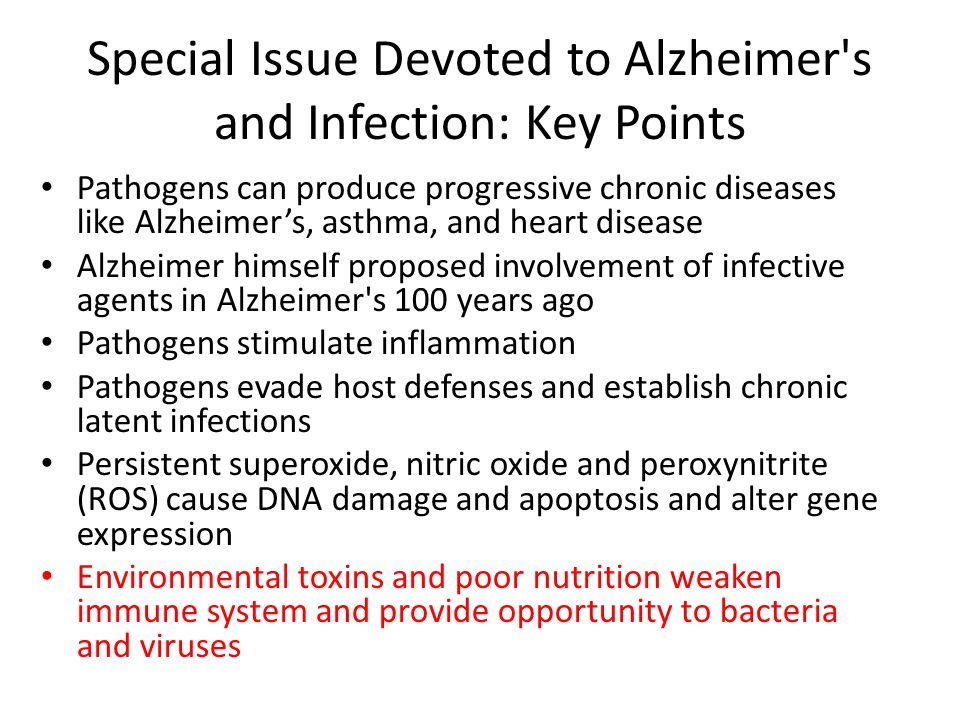 Special Issue Devoted to Alzheimer's and Infection: Key Points Pathogens can produce progressive chronic diseases like Alzheimer's, asthma, and heart