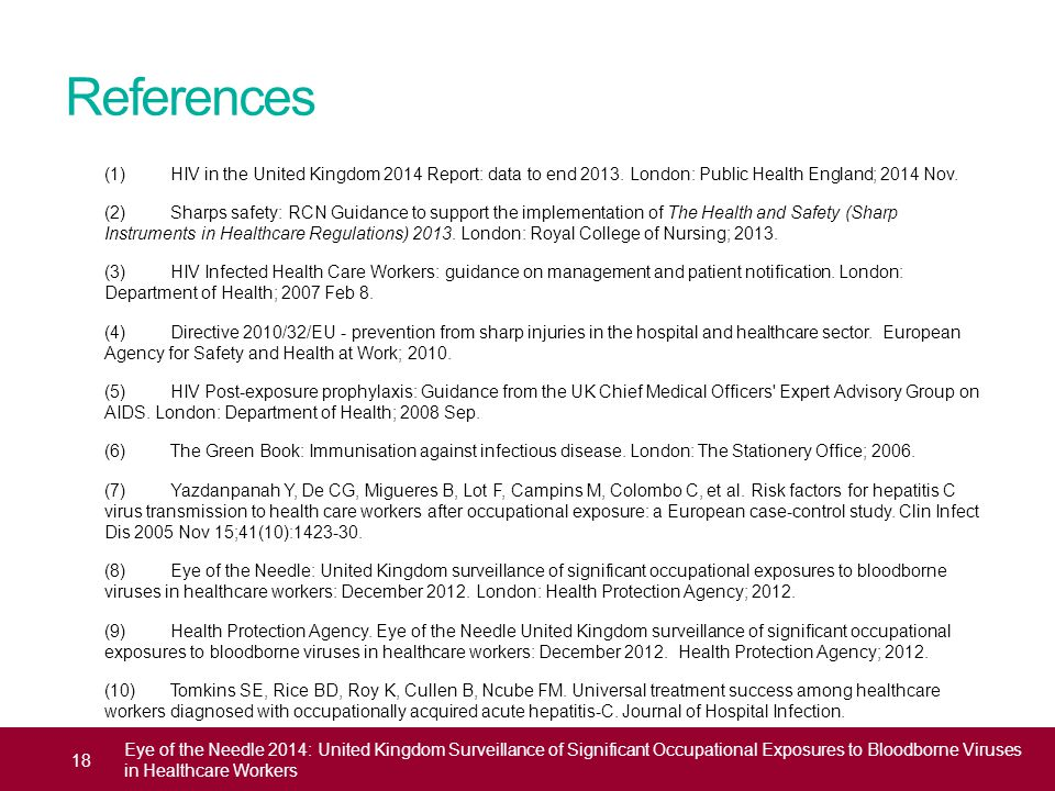 References (1) HIV in the United Kingdom 2014 Report: data to end 2013. London: Public Health England; 2014 Nov. (2) Sharps safety: RCN Guidance to su