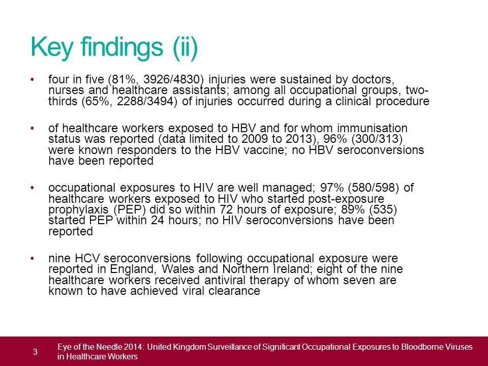 Key findings (ii) four in five (81%, 3926/4830) injuries were sustained by doctors, nurses and healthcare assistants; among all occupational groups, t