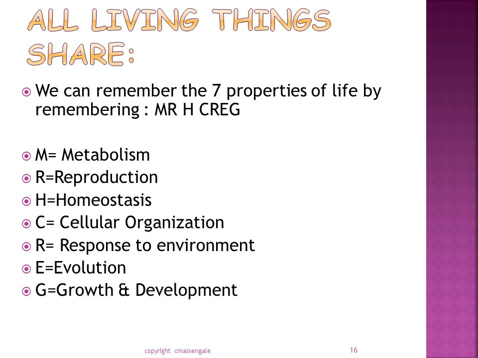  We can remember the 7 properties of life by remembering : MR H CREG  M= Metabolism  R=Reproduction  H=Homeostasis  C= Cellular Organization  R= Response to environment  E=Evolution  G=Growth & Development copyright cmassengale 16