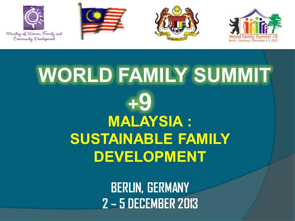 MALAYSIA : SUSTAINABLE FAMILY DEVELOPMENT BERLIN, GERMANY 2 – 5 DECEMBER 2013