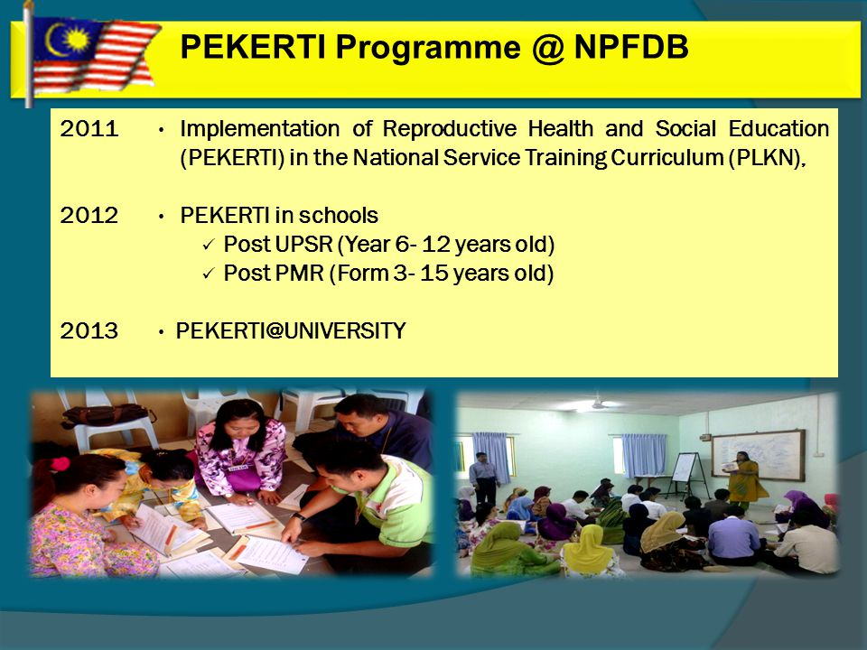 PEKERTI Programme @ NPFDB 2011 2012 2013 Implementation of Reproductive Health and Social Education (PEKERTI) in the National Service Training Curriculum (PLKN), PEKERTI in schools Post UPSR (Year 6- 12 years old) Post PMR (Form 3- 15 years old) PEKERTI@UNIVERSITY