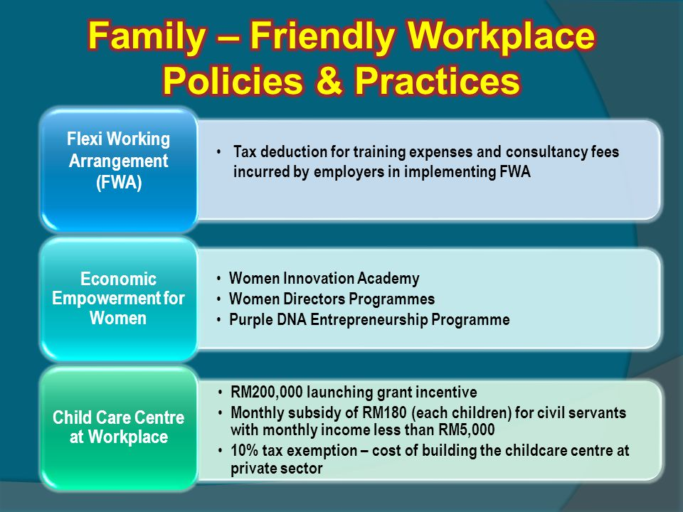 Tax deduction for training expenses and consultancy fees incurred by employers in implementing FWA Flexi Working Arrangement (FWA) Women Innovation Ac