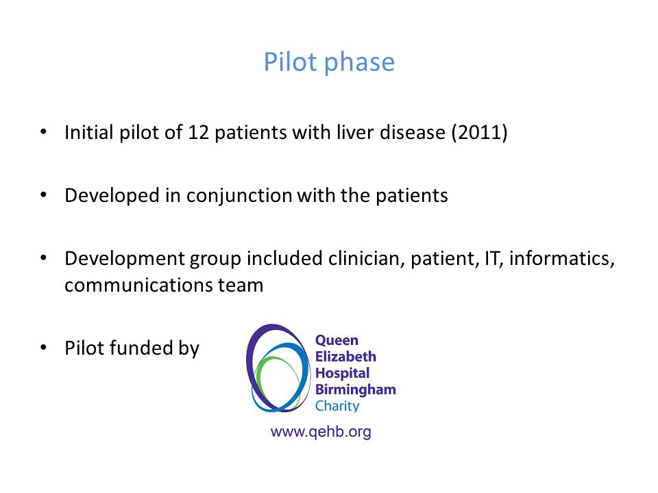 Pilot phase Initial pilot of 12 patients with liver disease (2011) Developed in conjunction with the patients Development group included clinician, pa