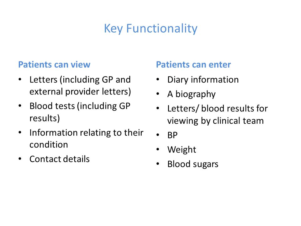 Key Functionality Patients can view Letters (including GP and external provider letters) Blood tests (including GP results) Information relating to th
