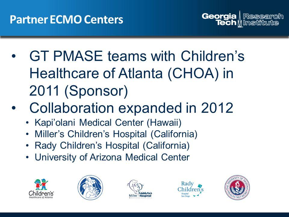 Partner ECMO Centers GT PMASE teams with Children's Healthcare of Atlanta (CHOA) in 2011 (Sponsor) Collaboration expanded in 2012 Kapi'olani Medical C