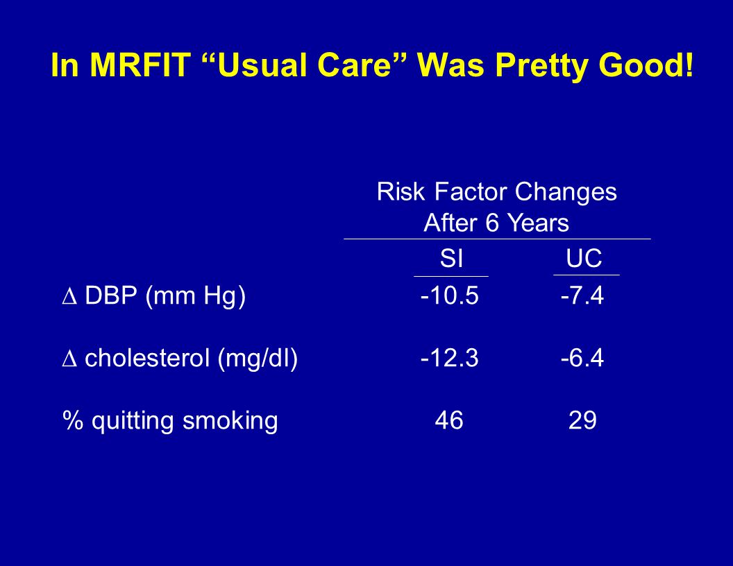 In MRFIT Usual Care Was Pretty Good.