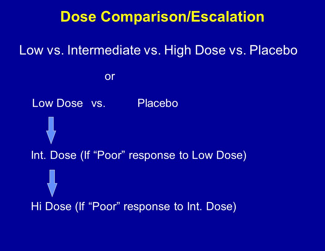 "Low vs. Intermediate vs. High Dose vs. Placebo Low Dosevs.Placebo Int. Dose (If ""Poor"" response to Low Dose) Hi Dose (If ""Poor"" response to Int. Dose)"