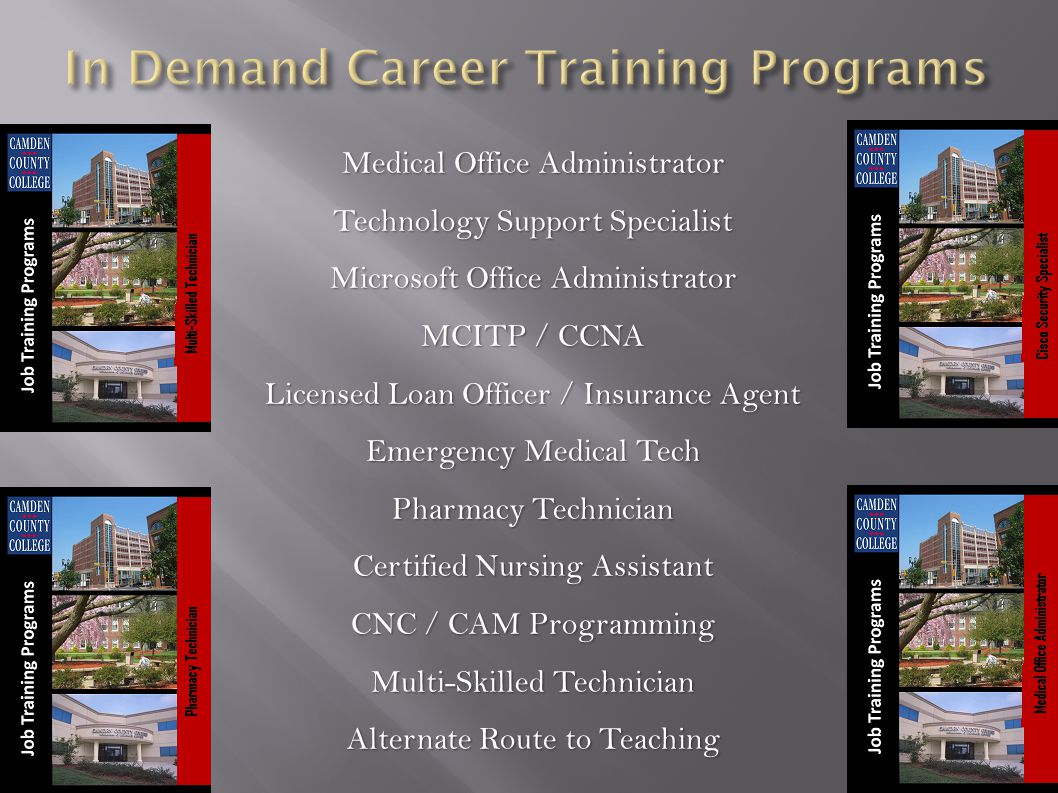 Medical Office Administrator Technology Support Specialist Microsoft Office Administrator MCITP / CCNA Licensed Loan Officer / Insurance Agent Emergency Medical Tech Pharmacy Technician Certified Nursing Assistant CNC / CAM Programming Multi-Skilled Technician Alternate Route to Teaching