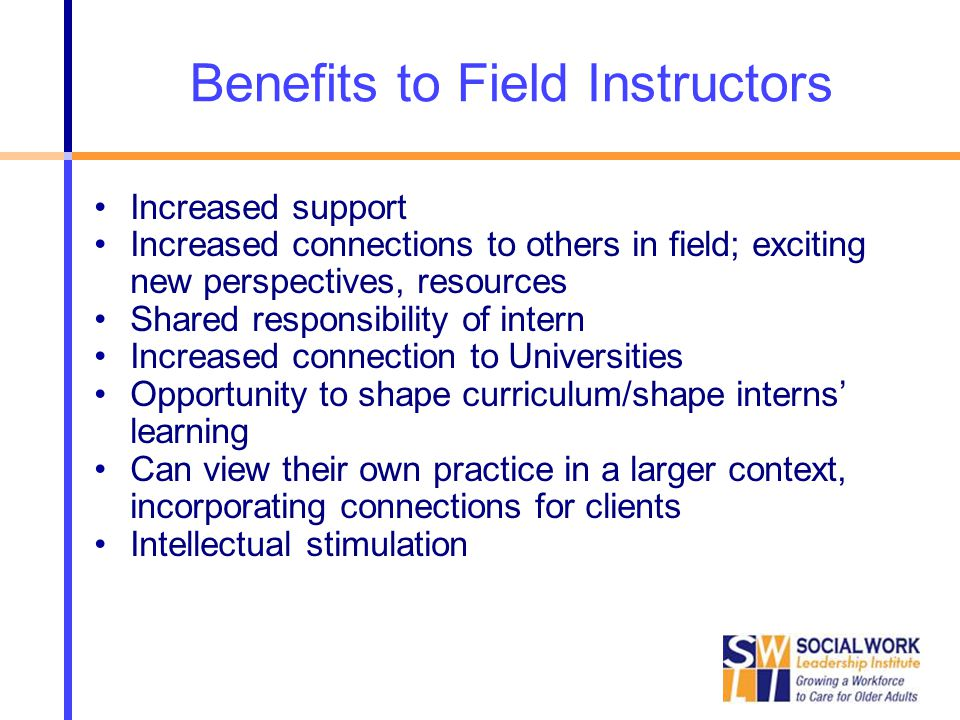 Benefits to Field Instructors Increased support Increased connections to others in field; exciting new perspectives, resources Shared responsibility of intern Increased connection to Universities Opportunity to shape curriculum/shape interns' learning Can view their own practice in a larger context, incorporating connections for clients Intellectual stimulation
