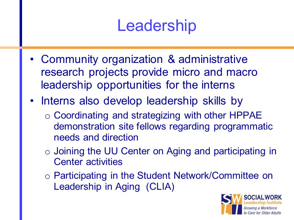 Leadership Community organization & administrative research projects provide micro and macro leadership opportunities for the interns Interns also develop leadership skills by o Coordinating and strategizing with other HPPAE demonstration site fellows regarding programmatic needs and direction o Joining the UU Center on Aging and participating in Center activities o Participating in the Student Network/Committee on Leadership in Aging (CLIA)