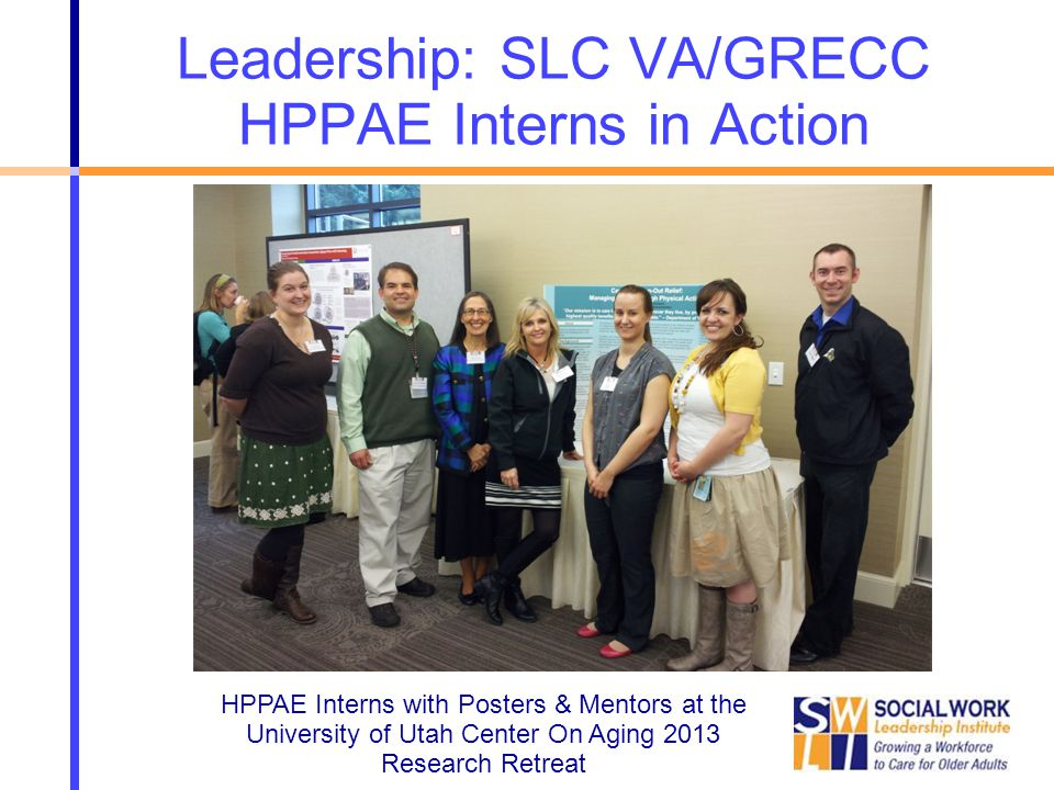 Leadership: SLC VA/GRECC HPPAE Interns in Action HPPAE Interns with Posters & Mentors at the University of Utah Center On Aging 2013 Research Retreat