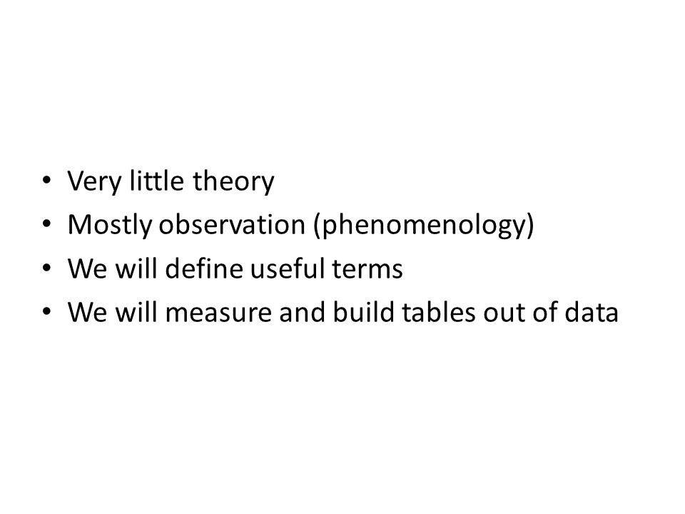 Very little theory Mostly observation (phenomenology) We will define useful terms We will measure and build tables out of data