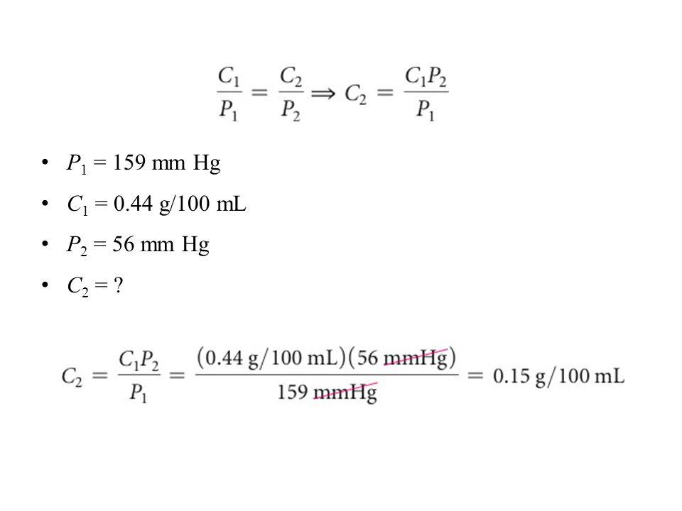 P 1 = 159 mm Hg C 1 = 0.44 g/100 mL P 2 = 56 mm Hg C 2 =