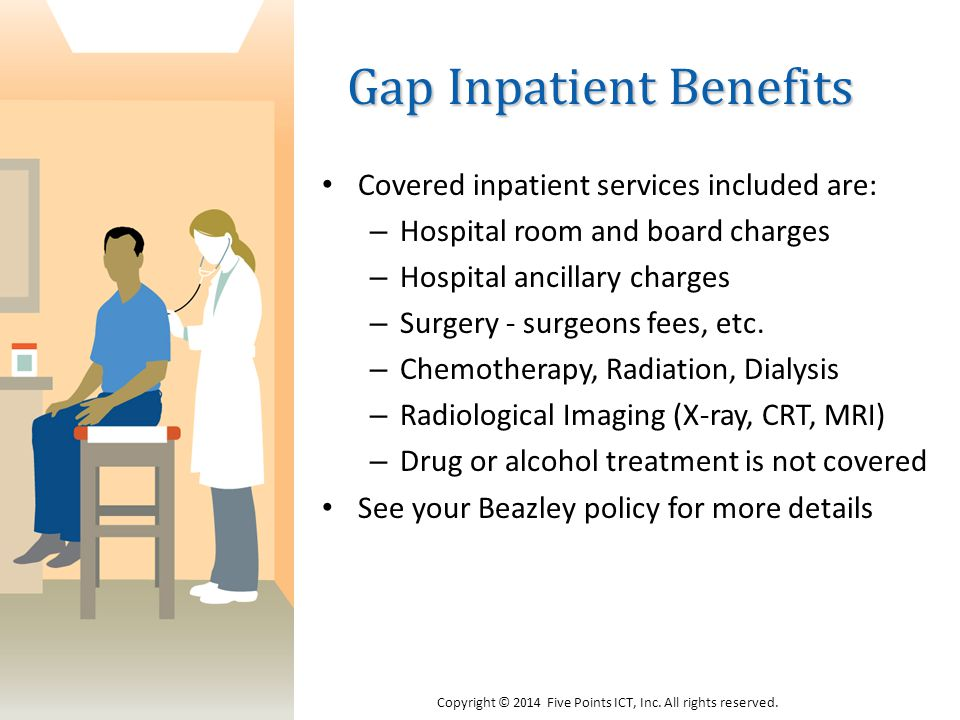 Gap Inpatient Benefits Covered inpatient services included are: – Hospital room and board charges – Hospital ancillary charges – Surgery - surgeons fees, etc.