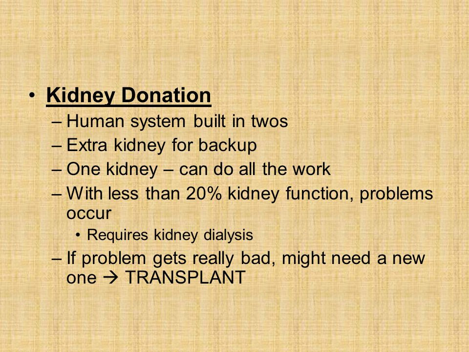 Kidney Donation –Human system built in twos –Extra kidney for backup –One kidney – can do all the work –With less than 20% kidney function, problems occur Requires kidney dialysis –If problem gets really bad, might need a new one  TRANSPLANT
