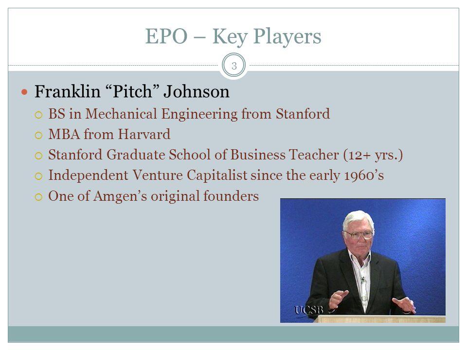 EPO – Key Players Bill Bowes  B.A.