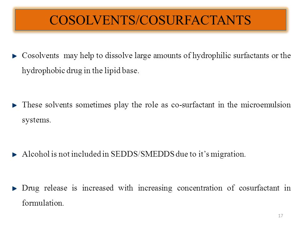 COSOLVENTS/COSURFACTANTS Cosolvents may help to dissolve large amounts of hydrophilic surfactants or the hydrophobic drug in the lipid base. These sol
