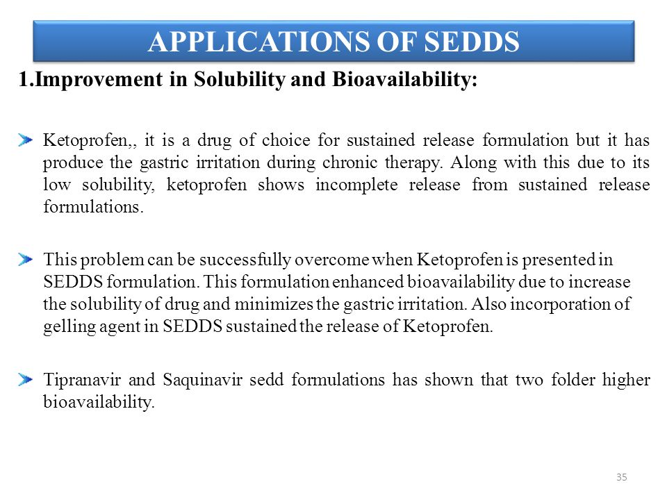 APPLICATIONS OF SEDDS 1.Improvement in Solubility and Bioavailability: Ketoprofen,, it is a drug of choice for sustained release formulation but it ha