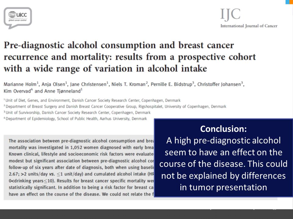 Conclusion: A high pre-diagnostic alcohol seem to have an effect on the course of the disease. This could not be explained by differences in tumor pre