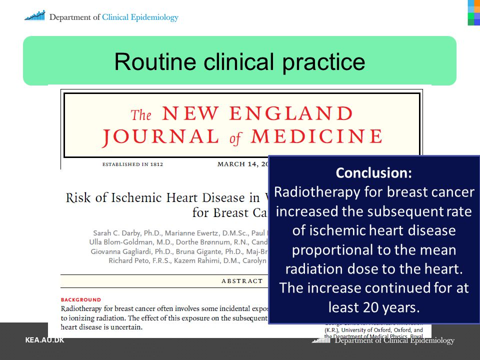 Routine clinical practice Conclusion: Radiotherapy for breast cancer increased the subsequent rate of ischemic heart disease proportional to the mean