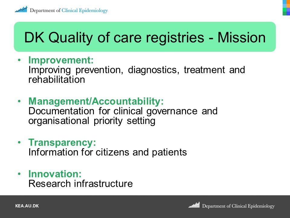 DK Quality of care registries - Mission Improvement: Improving prevention, diagnostics, treatment and rehabilitation Management/Accountability: Docume
