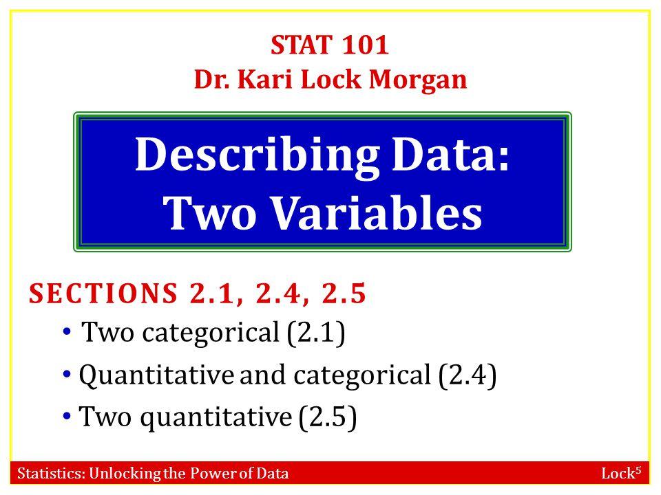 Statistics: Unlocking the Power of Data Lock 5 STAT 101 Dr.