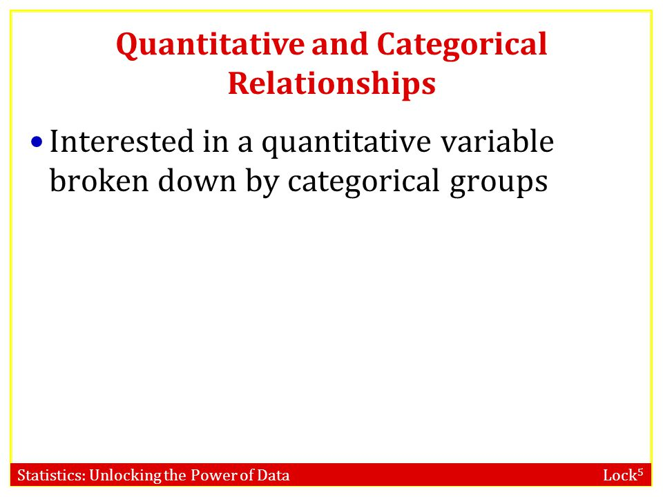 Statistics: Unlocking the Power of Data Lock 5 Quantitative and Categorical Relationships Interested in a quantitative variable broken down by categorical groups