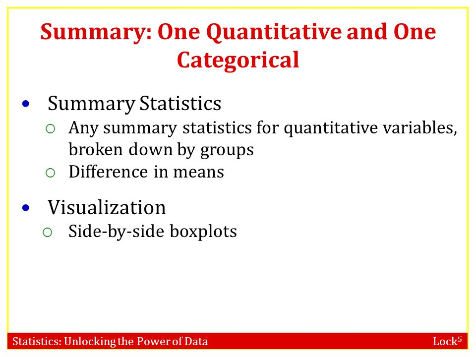 Statistics: Unlocking the Power of Data Lock 5 Summary: One Quantitative and One Categorical Summary Statistics  Any summary statistics for quantitative variables, broken down by groups  Difference in means Visualization  Side-by-side boxplots