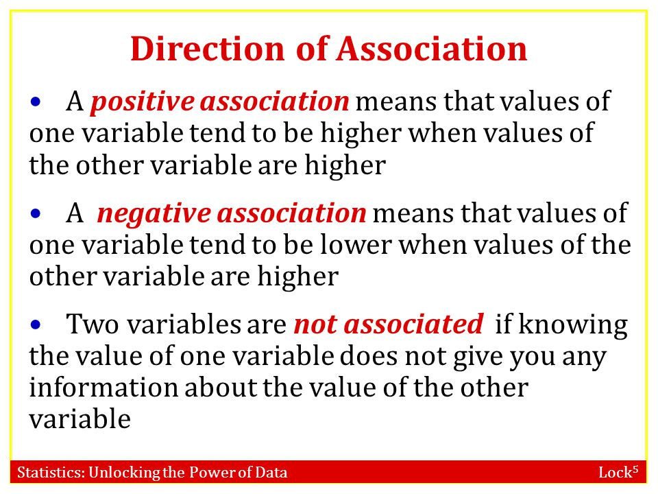 Statistics: Unlocking the Power of Data Lock 5 Direction of Association A positive association means that values of one variable tend to be higher when values of the other variable are higher A negative association means that values of one variable tend to be lower when values of the other variable are higher Two variables are not associated if knowing the value of one variable does not give you any information about the value of the other variable