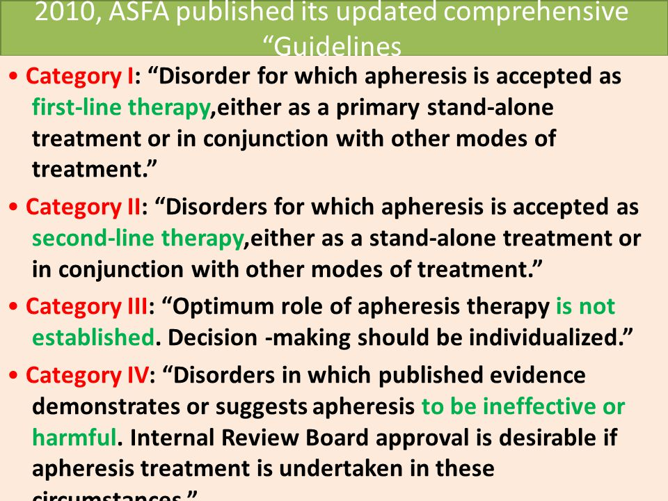"2010, ASFA published its updated comprehensive ""Guidelines Category I: ""Disorder for which apheresis is accepted as first-line therapy,either as a pri"