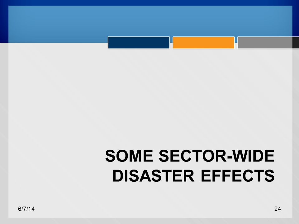 SOME SECTOR-WIDE DISASTER EFFECTS 6/7/1424