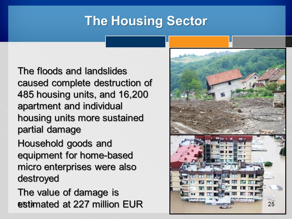 The Housing Sector The floods and landslides caused complete destruction of 485 housing units, and 16,200 apartment and individual housing units more sustained partial damage Household goods and equipment for home-based micro enterprises were also destroyed The value of damage is estimated at 227 million EUR 6/7/1425