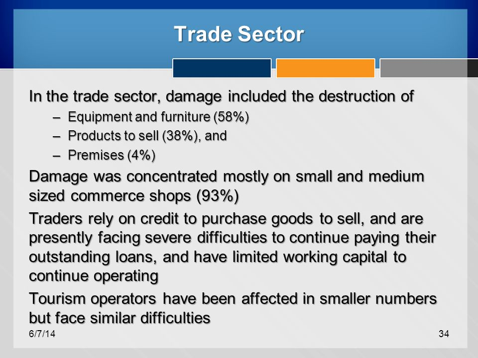 Trade Sector In the trade sector, damage included the destruction of –Equipment and furniture (58%) –Products to sell (38%), and –Premises (4%) Damage was concentrated mostly on small and medium sized commerce shops (93%) Traders rely on credit to purchase goods to sell, and are presently facing severe difficulties to continue paying their outstanding loans, and have limited working capital to continue operating Tourism operators have been affected in smaller numbers but face similar difficulties 6/7/1434