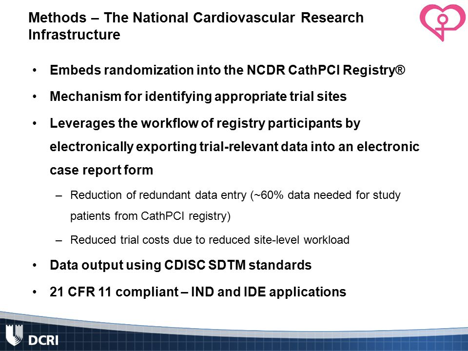 Methods – The National Cardiovascular Research Infrastructure Embeds randomization into the NCDR CathPCI Registry® Mechanism for identifying appropriate trial sites Leverages the workflow of registry participants by electronically exporting trial-relevant data into an electronic case report form –Reduction of redundant data entry (~60% data needed for study patients from CathPCI registry) –Reduced trial costs due to reduced site-level workload Data output using CDISC SDTM standards 21 CFR 11 compliant – IND and IDE applications