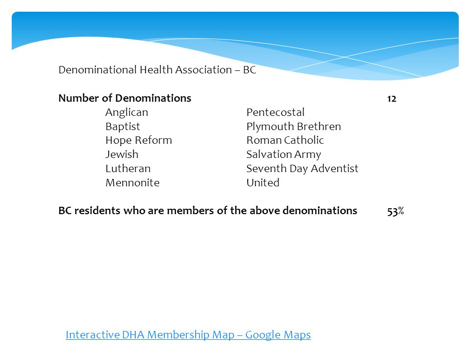 Denominational Health Association – BC Number of Denominations12 AnglicanPentecostal BaptistPlymouth Brethren Hope ReformRoman Catholic JewishSalvation Army LutheranSeventh Day Adventist MennoniteUnited BC residents who are members of the above denominations53% Interactive DHA Membership Map – Google Maps