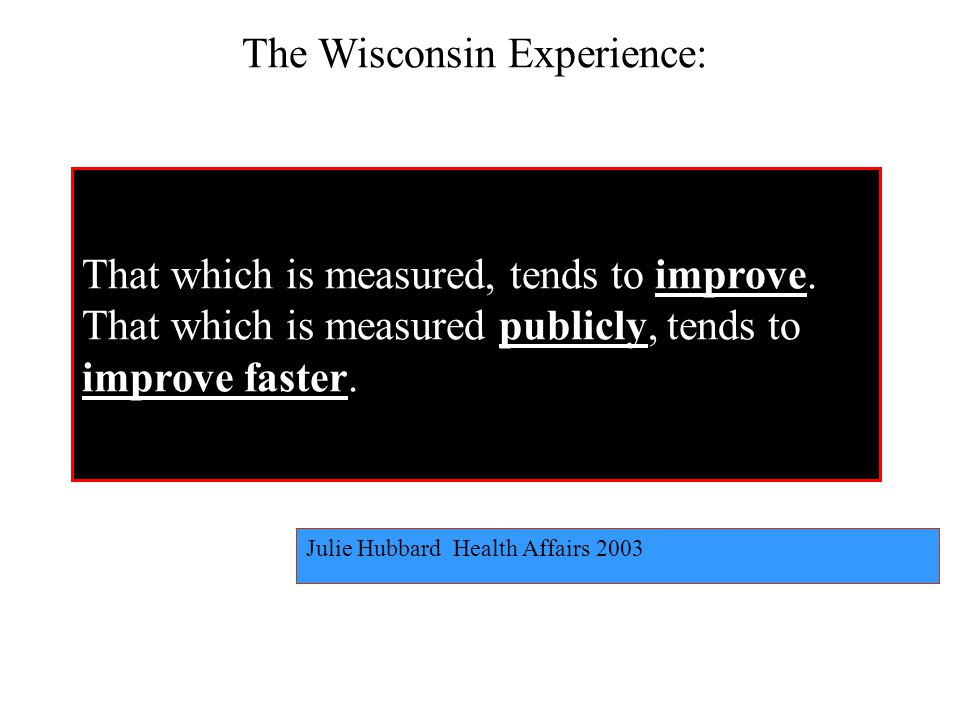 Julie Hubbard Health Affairs 2003 The Wisconsin Experience: That which is measured, tends to improve.