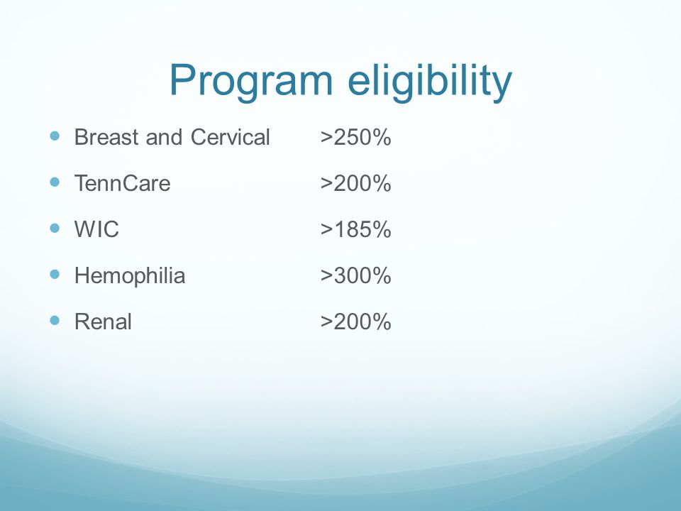 Program eligibility Breast and Cervical>250% TennCare>200% WIC>185% Hemophilia>300% Renal>200%