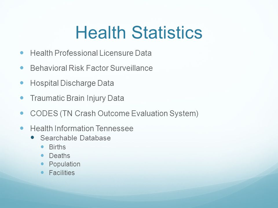 Health Statistics Health Professional Licensure Data Behavioral Risk Factor Surveillance Hospital Discharge Data Traumatic Brain Injury Data CODES (TN Crash Outcome Evaluation System) Health Information Tennessee Searchable Database Births Deaths Population Facilities