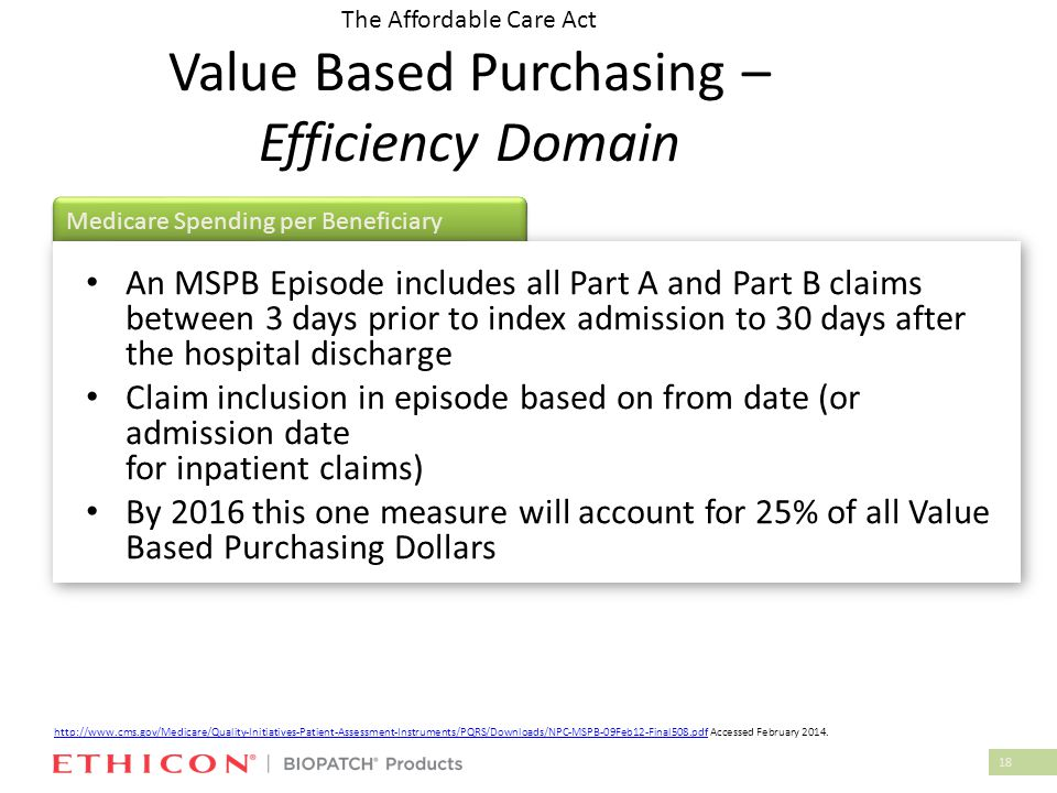 18 Medicare Spending per Beneficiary The Affordable Care Act Value Based Purchasing – Efficiency Domain An MSPB Episode includes all Part A and Part B