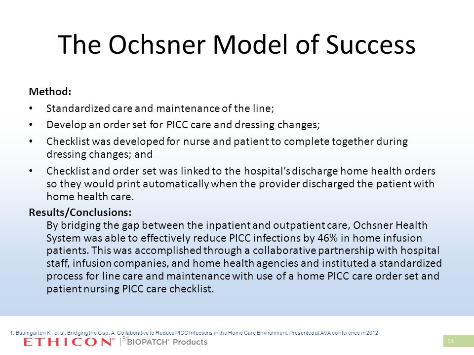 31 The Ochsner Model of Success Method: Standardized care and maintenance of the line; Develop an order set for PICC care and dressing changes; Checklist was developed for nurse and patient to complete together during dressing changes; and Checklist and order set was linked to the hospital's discharge home health orders so they would print automatically when the provider discharged the patient with home health care.