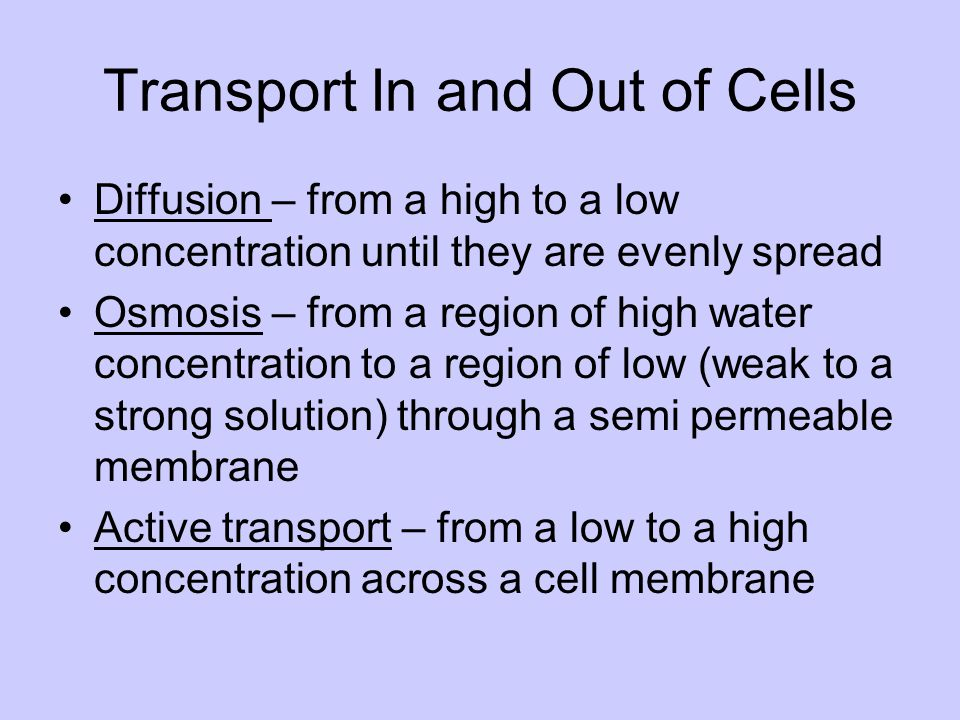 Transport In and Out of Cells Diffusion – from a high to a low concentration until they are evenly spread Osmosis – from a region of high water concen