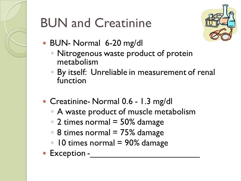 BUN and Creatinine BUN- Normal 6-20 mg/dl ◦ Nitrogenous waste product of protein metabolism ◦ By itself: Unreliable in measurement of renal function C