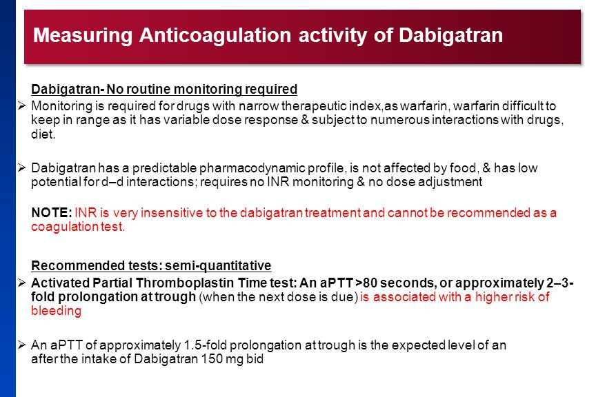 Measuring Anticoagulation activity of Dabigatran Dabigatran- No routine monitoring required  Monitoring is required for drugs with narrow therapeutic index,as warfarin, warfarin difficult to keep in range as it has variable dose response & subject to numerous interactions with drugs, diet.