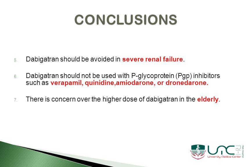 5. Dabigatran should be avoided in severe renal failure.