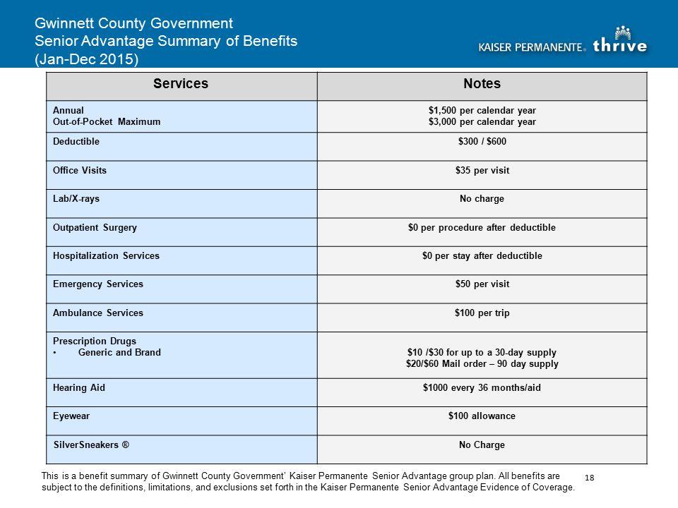 Gwinnett County Government Senior Advantage Summary of Benefits (Jan-Dec 2015) This is a benefit summary of Gwinnett County Government' Kaiser Permanente Senior Advantage group plan.