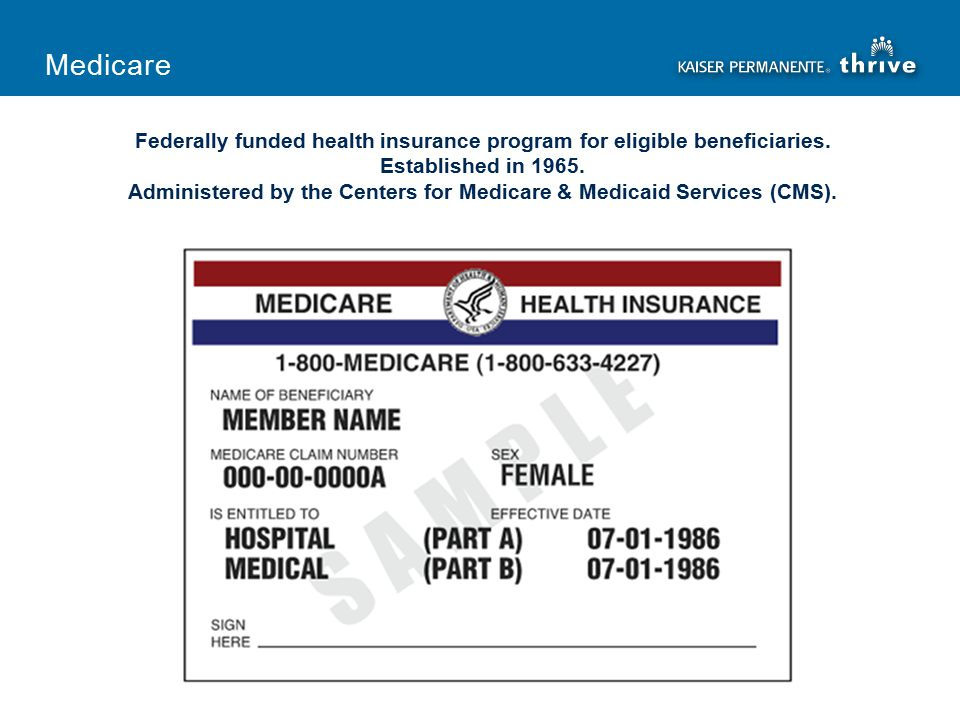 Federally funded health insurance program for eligible beneficiaries.