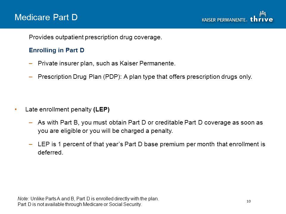 Provides outpatient prescription drug coverage.