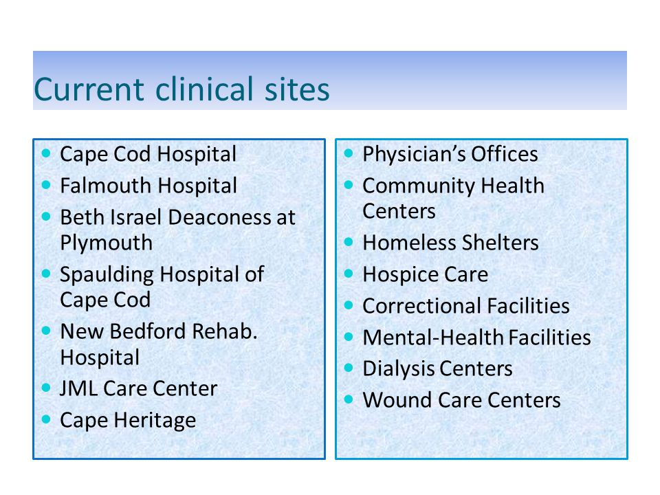 Current clinical sites Cape Cod Hospital Falmouth Hospital Beth Israel Deaconess at Plymouth Spaulding Hospital of Cape Cod New Bedford Rehab.