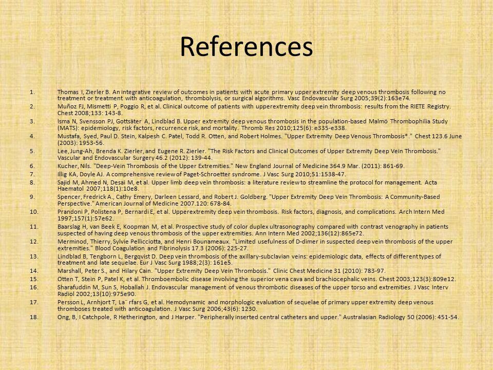 References 1.Thomas I, Zierler B.